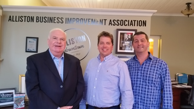 Jim meets with Alliston BIA re Banting High School February 2017 Mike Jerry and Lachlan McGurk web